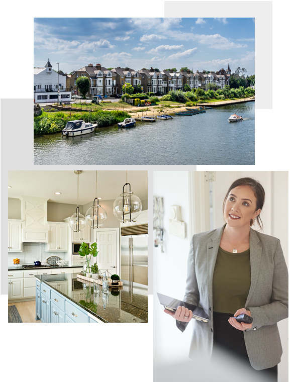 Mix of images: Twickenham, kitchen interior and Estate Agent