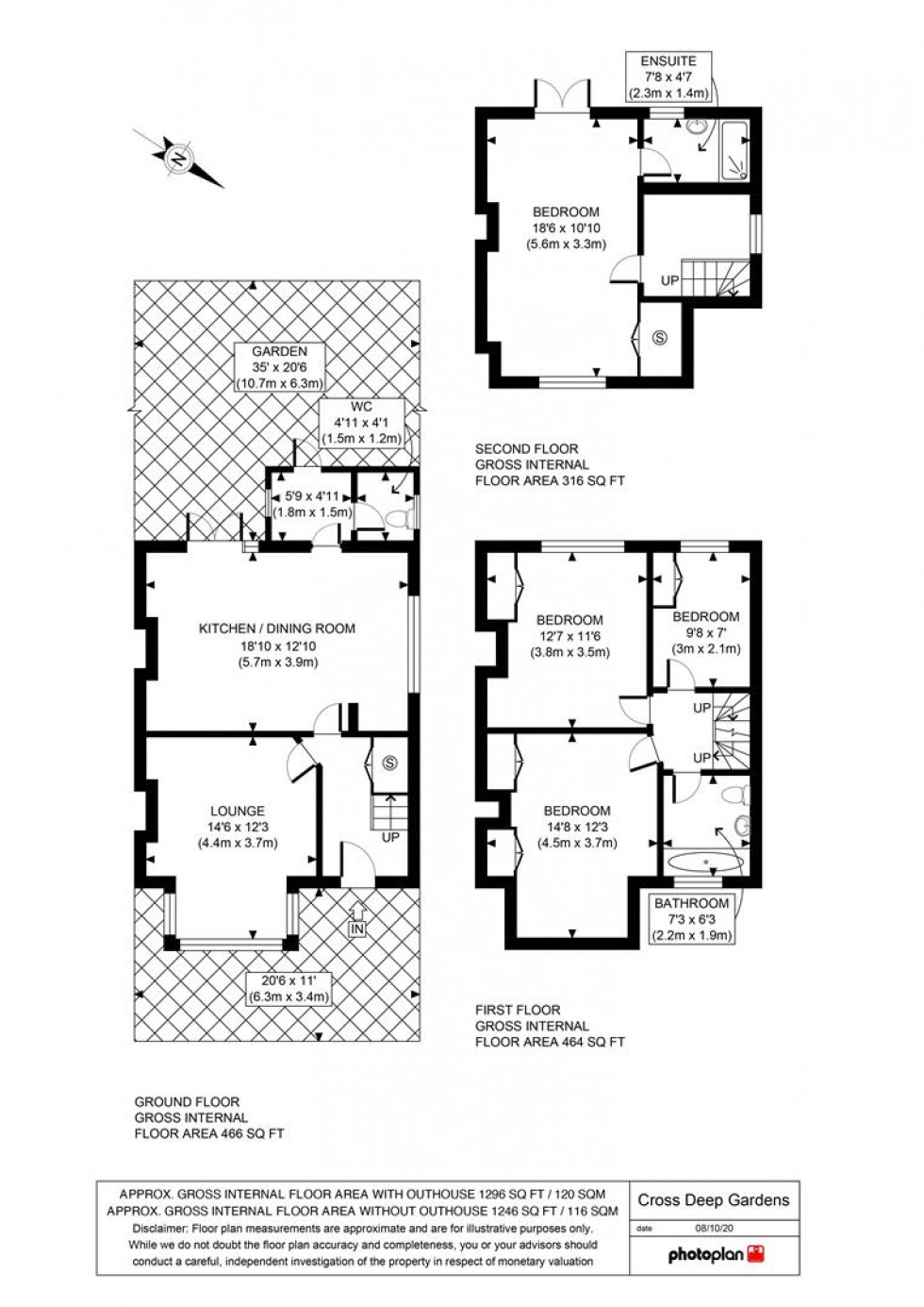 Floorplan for Cross Deep Gardens, Twickenham